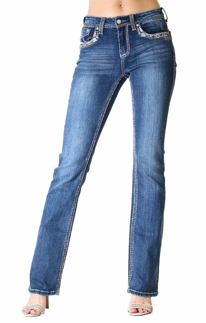 Stitched Embellished Easy Bootcut Jeans