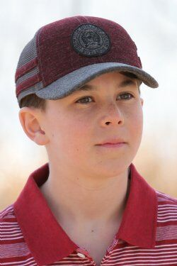 Boys Trucker Cap - Burgundy Charcoal