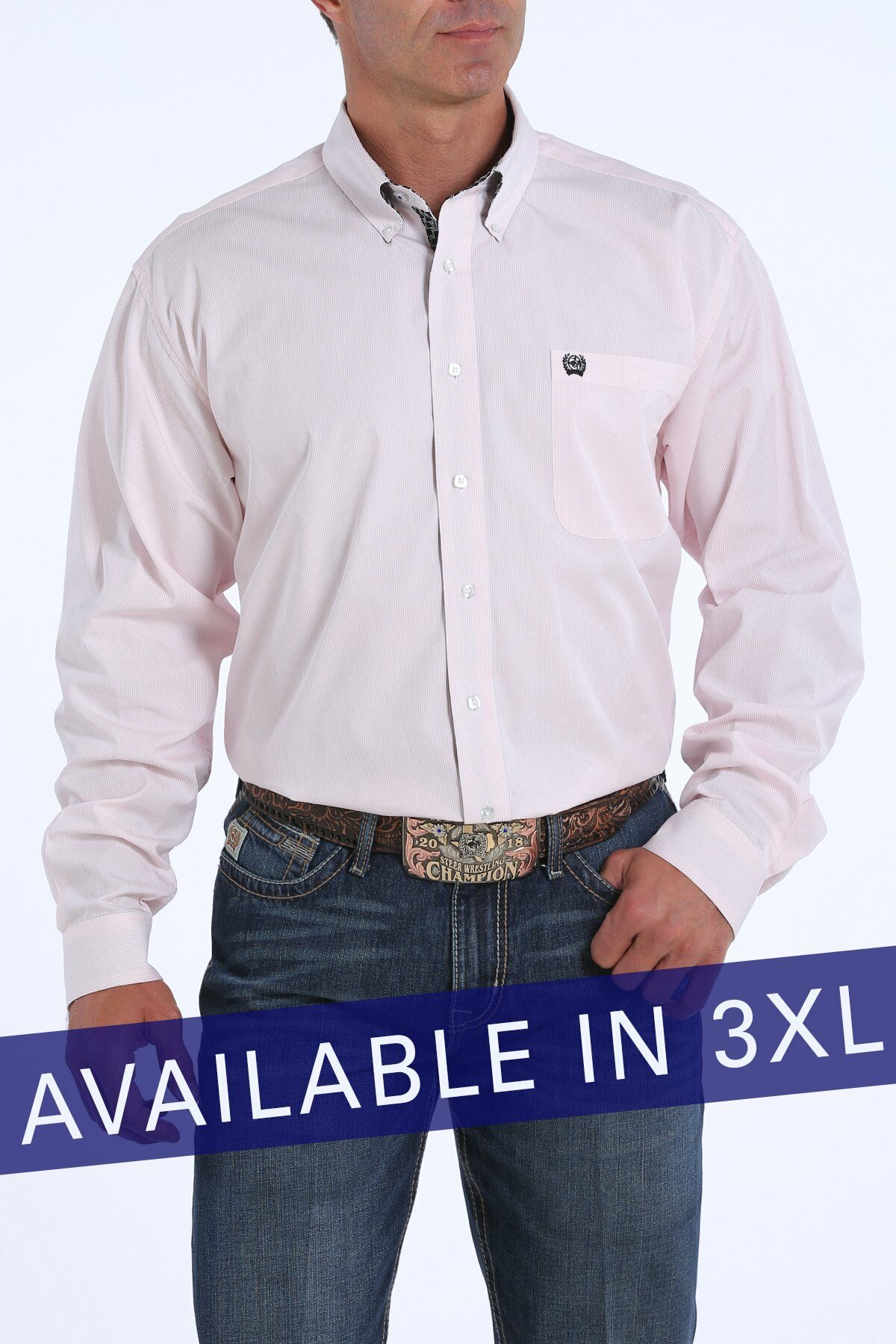 Mens 3XL TENCEL Pink and White Micro-Stripe Button-Down Western Shirt