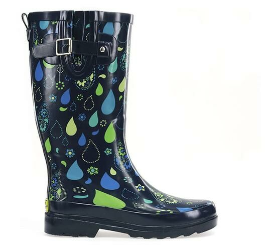 Womens Pouring Paisley Tall Rain Boot